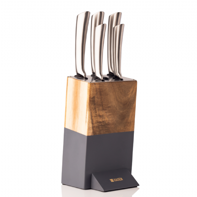 Haden Perth Slate Grey Acacia Knife Block Set